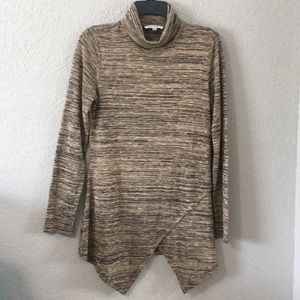 Spense Tan and Black Turtleneck Sweater Tunic